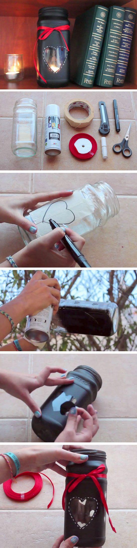 Heart Candle Jar   DIY Valentines Mason Jar Crafts for Him   Easy Gifts in a Jar Ideas for Boyfriend