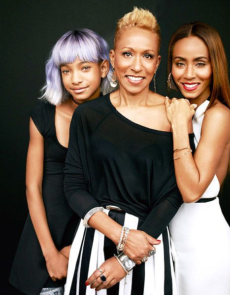 "Us Weekly - Jada Pinkett Smith \ (seen here with daughter Willow and mom Adrienne) tells the July 2013 issue of Redbook that the only way should would ever ""abandon"" Will Smith is if he ""did something bad to the kids."""