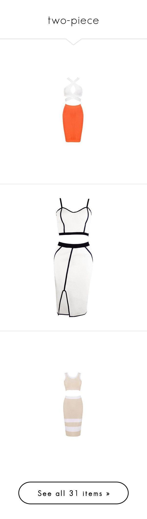 """""""two-piece"""" by lulucosby ❤ liked on Polyvore featuring dresses, checked dress, bandage two piece, 2 piece dress, bandage dress, sexy dresses, vestidos, skirts, tops and white two piece dress"""