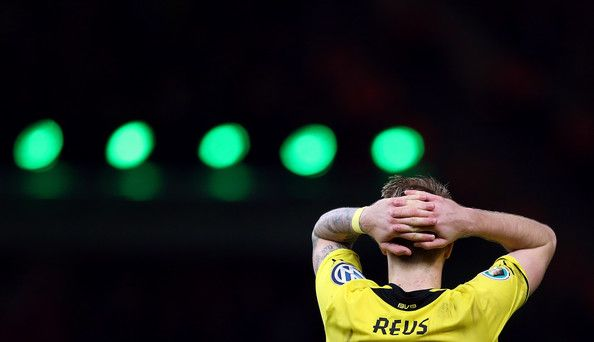 Marco Reus of Borussia Dortmund reacts during the DFB Cup Final match 2014 between Borussia Dortmund and Bayern Muenchen at Olympiastadion on May 17, 2014 in Berlin, Germany.
