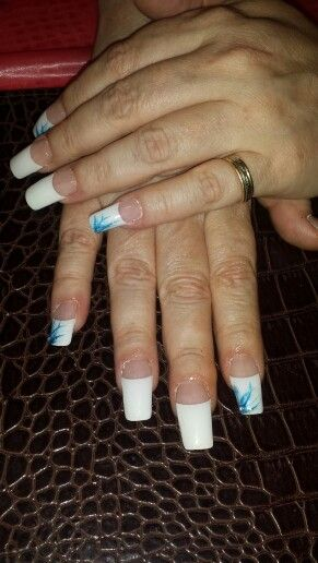 Long cut French manicure with blue lines