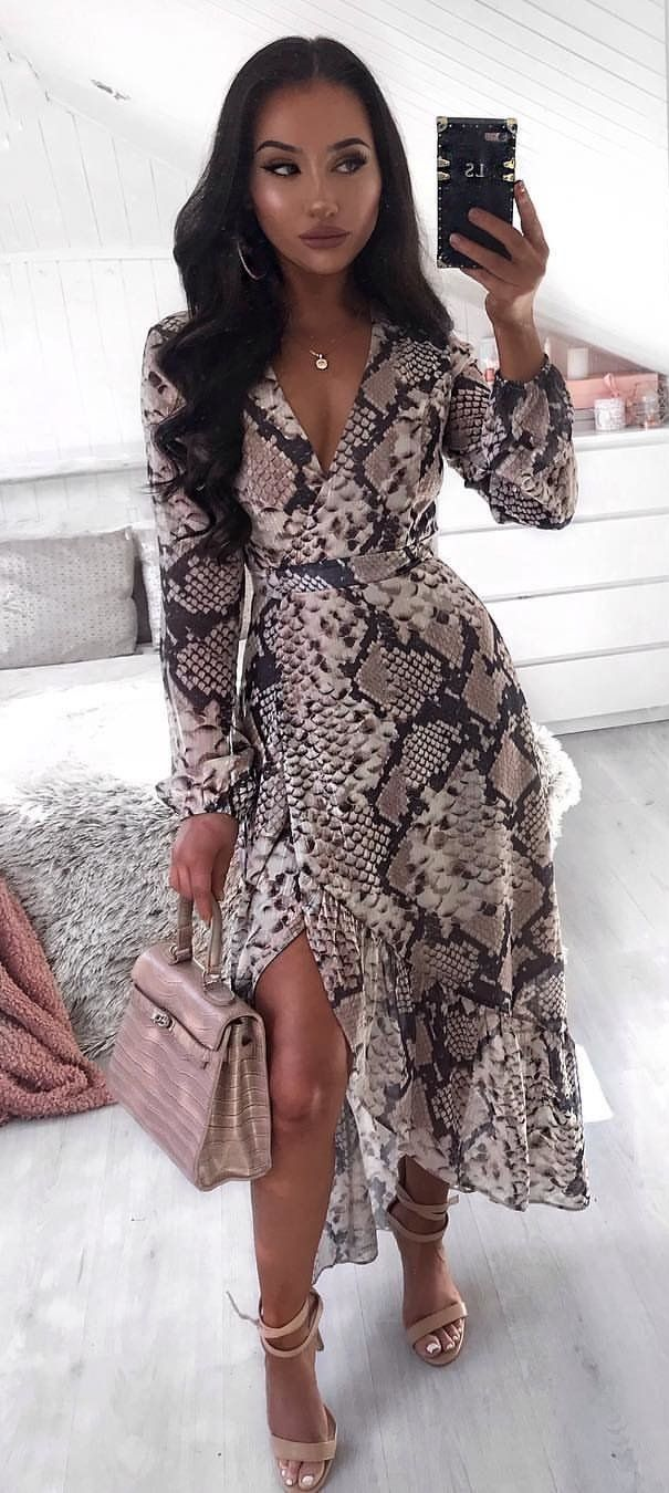 brown and black snakeskin long-sleeved maxi dress #spring #outfits