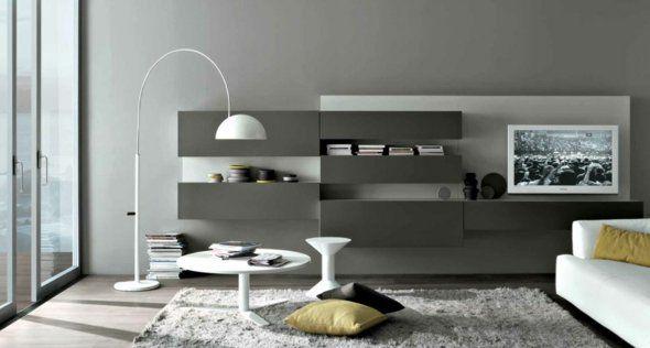 salon moderne en gris et blanc