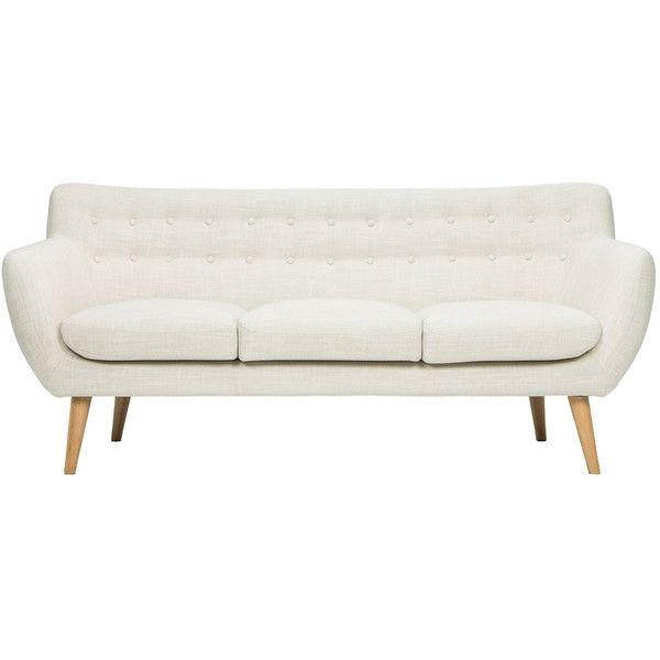 soft beige mid century sofa found on polyvore featuring home furniture sofas off