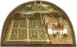 Giusto Utens' lunette of L'Ambrogiana (circa 1600) -                                                       The Villa L'Ambrogiana was a rural palace or villa built during the late-renaissance by Ferdinand I de' Medici; it is located at the confluence of the rivers Pesa & Arno. It was built in 1587