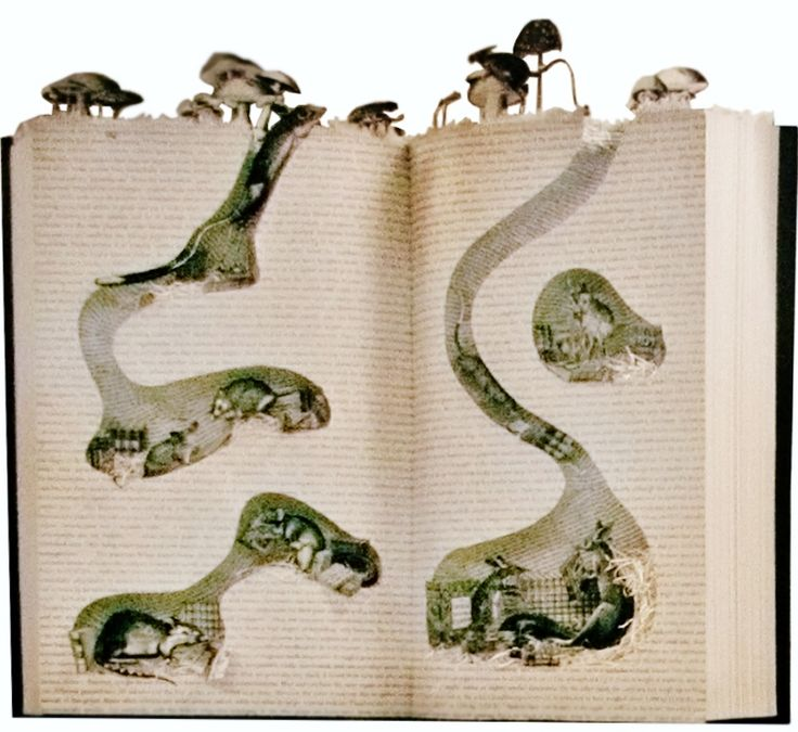 Burrowing into a good book. BERDORF GOODMAN window display. #Altered_Book #Sculptured_Book. #BOOK_arts Photo enhanced to show detail.
