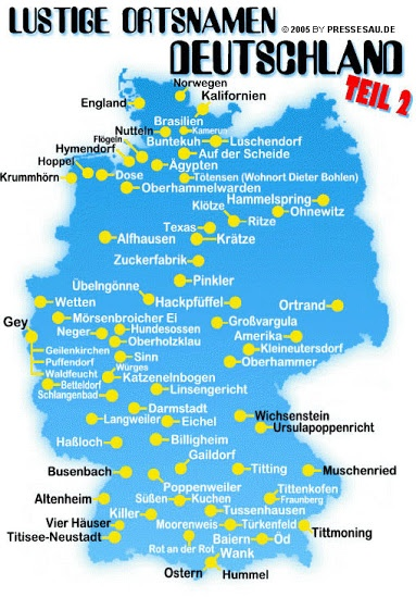 Lustige Ortsnamen Deutschlands - Funny names or German towns and villages