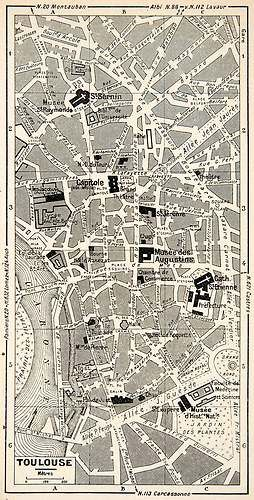 1949 Lithograph Vintage Street Map Landmarks Toulouse France City Planning Civic | eBay