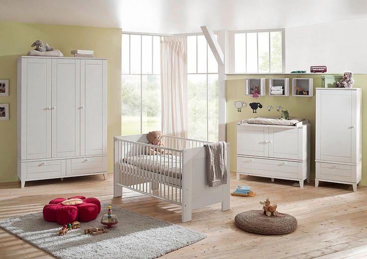 Trend Komplett Babyzimmer Bella wei im Landhausstil Babybett Wickelkommode Schrank tlg