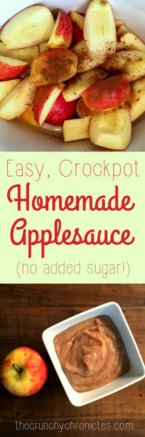 This homemade applesauce is super simple - it is made in a slow cooker and you don't even need to peel anything! A healthy treat with no sugar added.