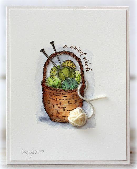 Rapport från ett skrivbord: Basket of Yarn.   Serendipity Stamps Basket of Yarn stamp with a tiny ball of yarn!