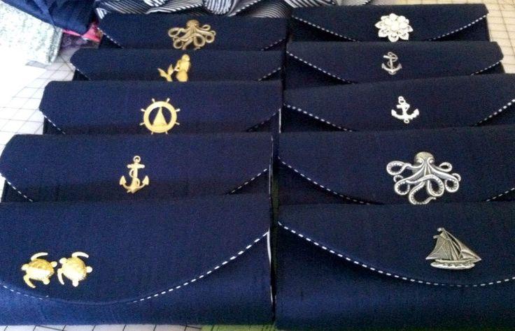 Nautical clutch, navy blue clutch, silk clutch, bridesmaid clutch, bridesmaid bag, nautical wedding, custom clutch by toriska on Etsy https://www.etsy.com/listing/196971565/nautical-clutch-navy-blue-clutch-silk