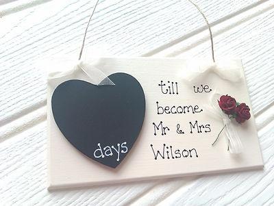 Handmade Countdown Chalkboard Personalised Wedding Plaque Gift Bride Keepsake