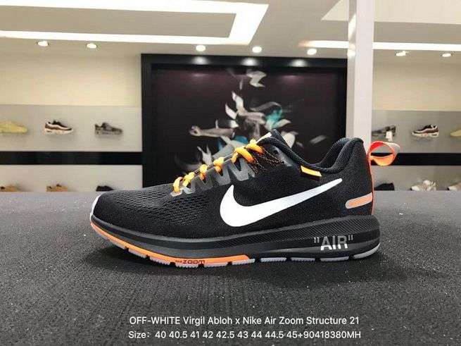 0f219be549aa Original Men OFF-WHITE Virgil Abloh x Nike Air Zoom Structure 21 Core Black  White