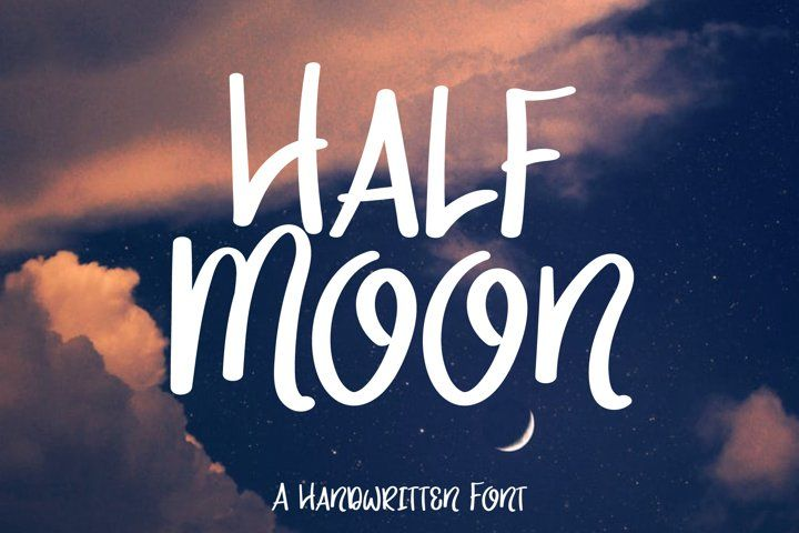 Half Moon Text Font Hand Lettering Handwriting Otf Ttf Round Handcrafted Friendly