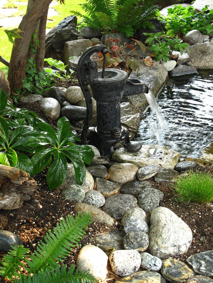 377 best images about rustic water features on pinterest for Outdoor pond