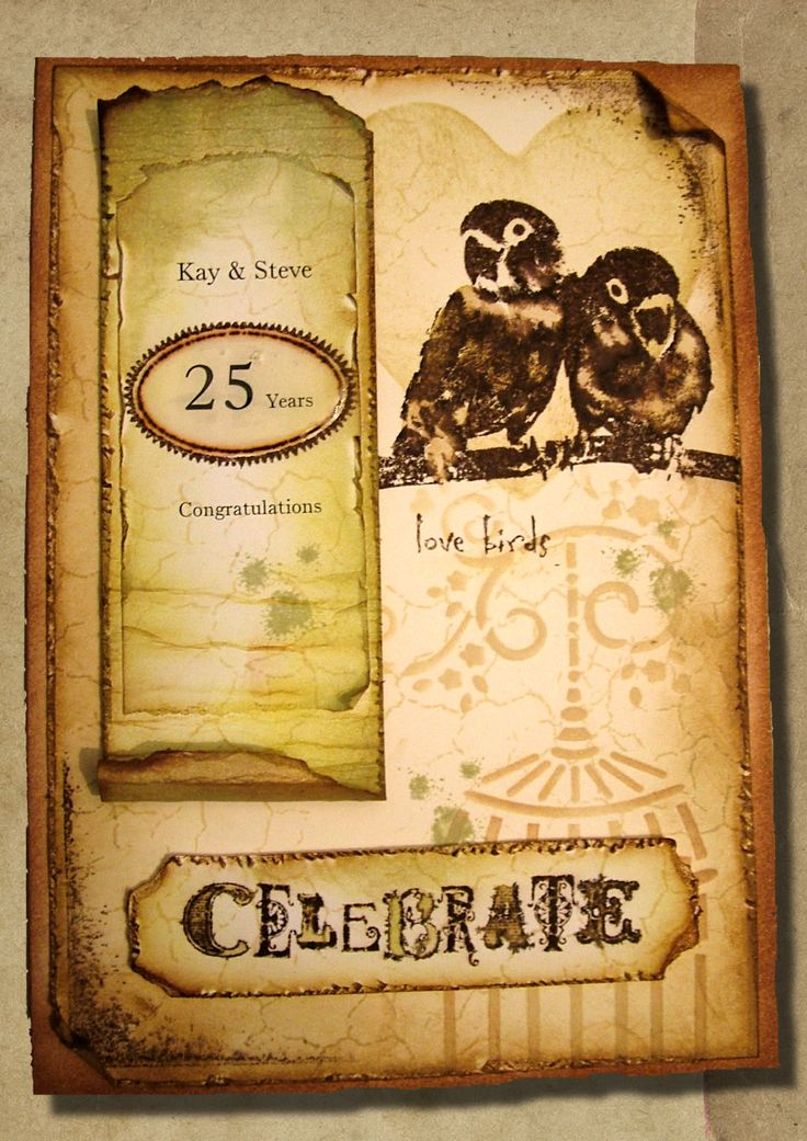 A little play at grunge. Aged Anniversary card. Anne Waller. #stamping #cardmaking