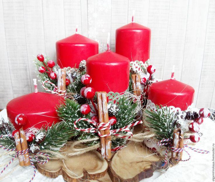 Купить Набор новогодних свечей - ярко-красный, новогодние свечи, декор свечей…