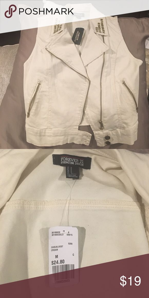 NWT creamy white denim vest! Brand new creamy white denim vest with gold studs! Forever 21 Jackets & Coats Vests