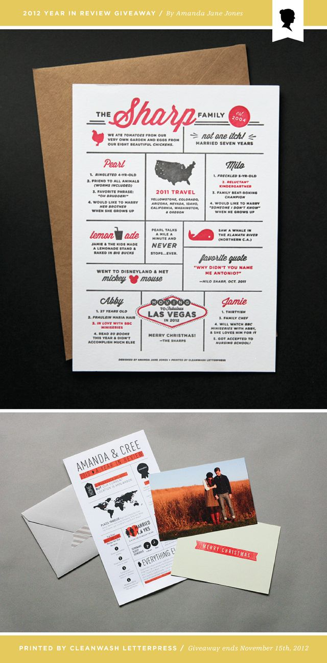 2012 Year in Review - cute idea for holiday cards