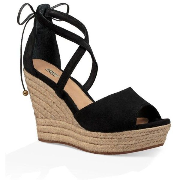 Ugg Australia  Reagan Wedge Sandal ($160) ❤ liked on Polyvore featuring shoes, sandals, black, wedges shoes, wedge heel sandals, black platform shoes, black wedge sandals and black shoes