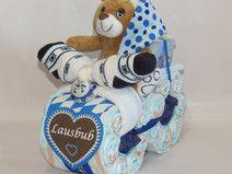 """Windelmotorrad Bayrisch """"Lausbub"""" Teddy in blau"""