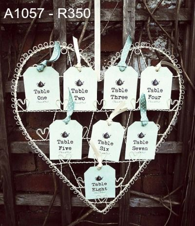 Table Seating Plan - wire heart and tags