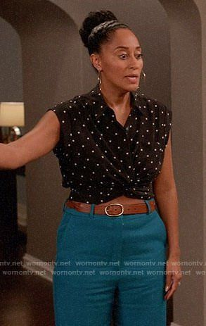 b474a5eec87 Rainbow's black dotted crop top on Black-ish in 2019   {Obsessed} Tracee  Ellis Ross   Black, Outfits, Black dots