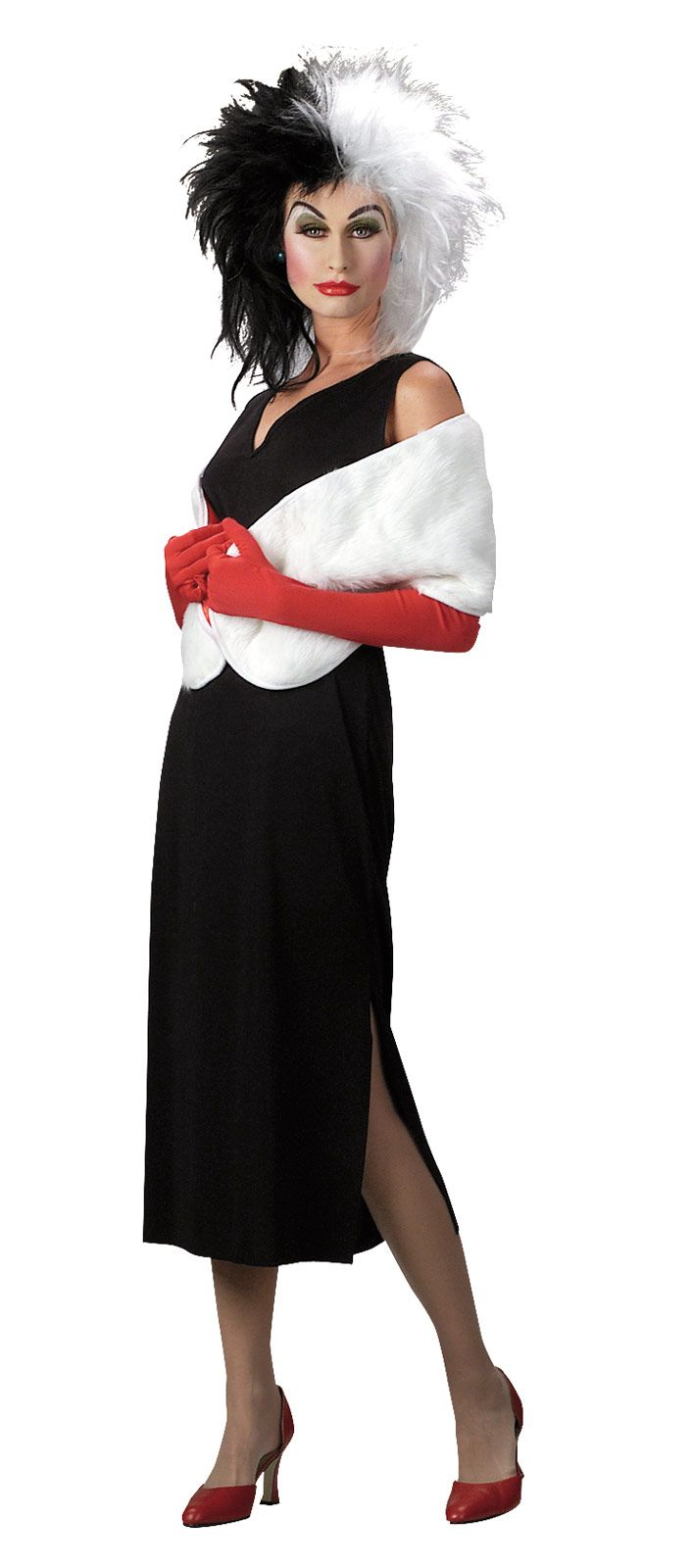 Disney's Cruella De Vil Sassy Ladies Halloween Costume - Calgary, Alberta. Disney's famous 101 Dalmatians villain, Cruella De Vil,  is the epitome of stylish cruelty. This makes her a fun, sassy character to dress up as for Halloween.  This costume brings out the character's sassy, yet devilish, fashion style. The black and white theme (especially the chaotic, dual colored wig) is a reminder of both her high fashion and unstable personality.
