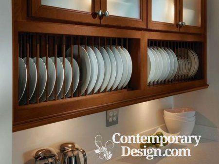 Plate racks in kitchen furniture
