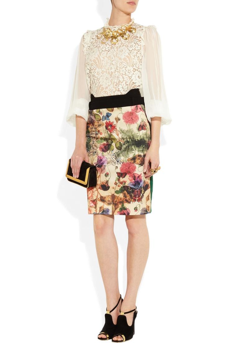 Dolce & Gabbana|Contrast lace top|NET-A-PORTER.COM