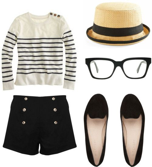 stripes, glasses, and high-waisted sailor shorts. c'est trop parfait!