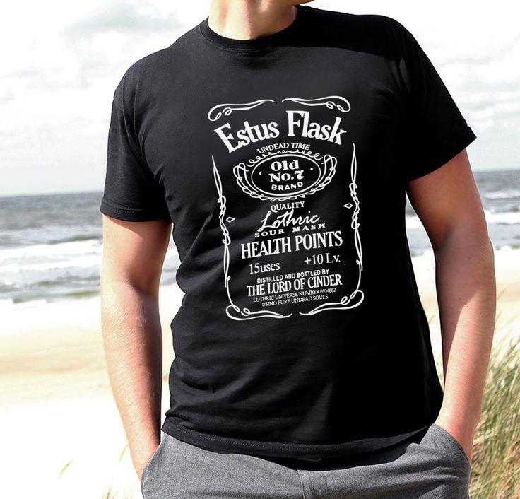 T-shirt Dark Souls Estus Flask III II I New Game 3 tee knight oscars drink real