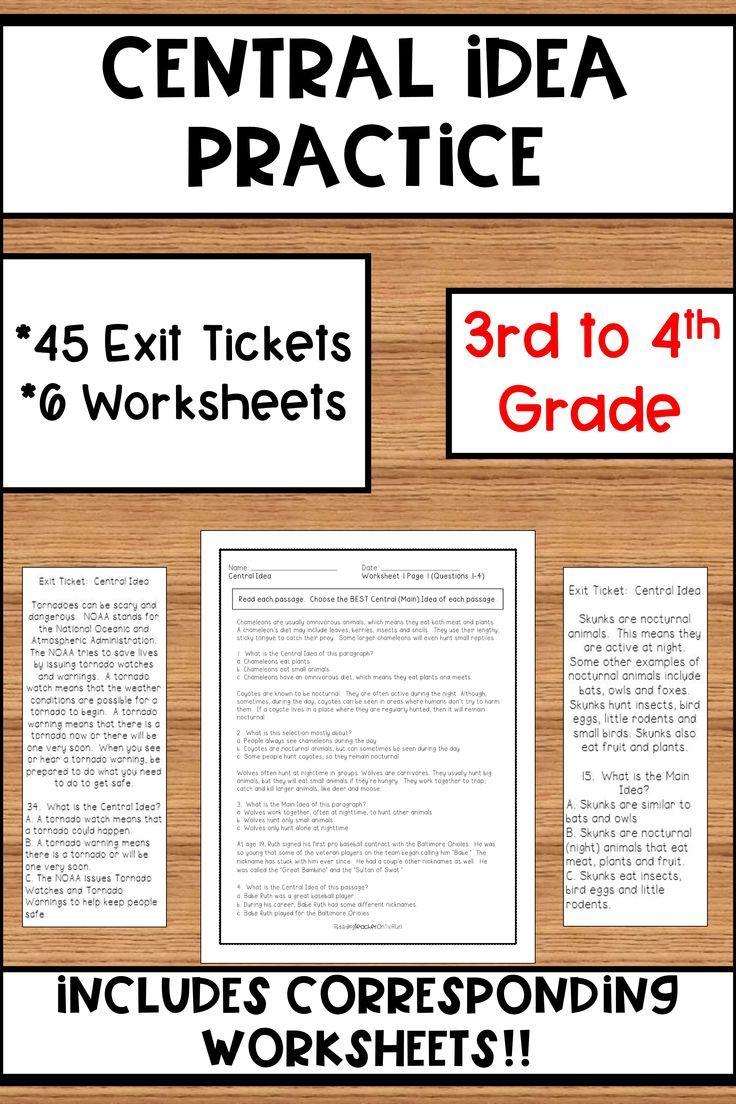 Central Idea Practice Literature Lessons Writing Rubric Main Idea Worksheet [ 1104 x 736 Pixel ]