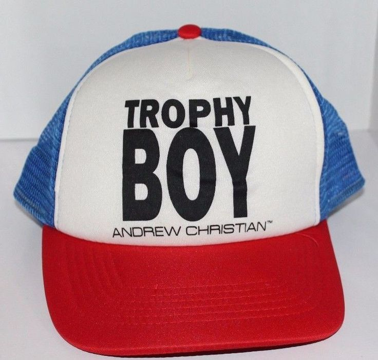Trophy Boy Andrew Christian Snap Back Trucker Hat Cap Red White Blue New