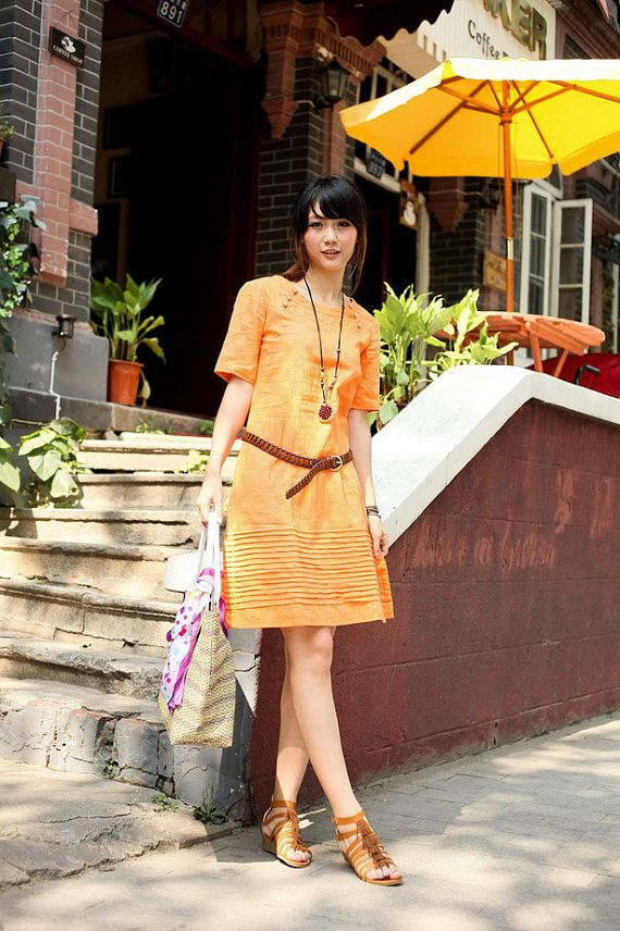 Lost in Paradise-half sleeve dress in orange(more colour and size choice)