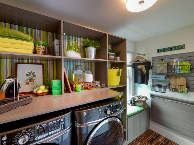 This full-sized laundry room is as stylish as it is functional, complete with a citrus-inspired color scheme, high-end appliances and smart storage.