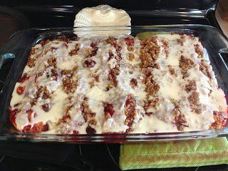The Ultimate Strawberry Cinnamon Roll breakfast casserole