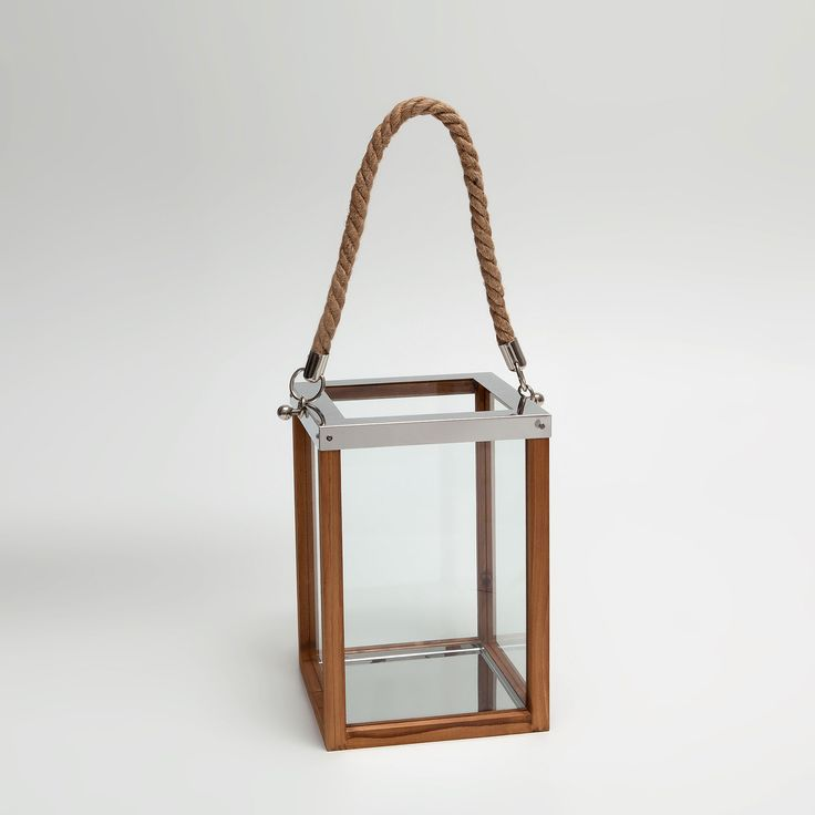 Image 4 of the product Wood and metal lantern with jute handle