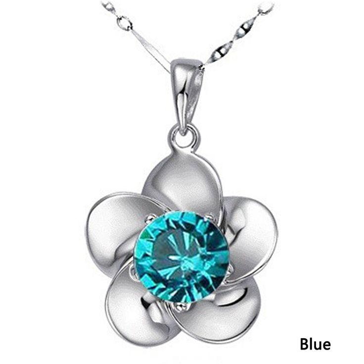 Collier en forme de #Fleur de #prunier en Cristal couleur Bleu et Plaqué Argent .Mode 2016,Neuf sous blister.