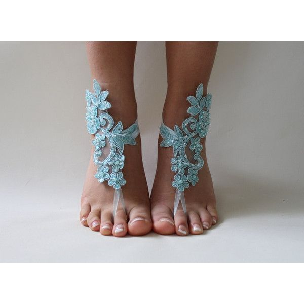FREE SHİP Beach Wedding Barefoot Sandals, Bridal Lace Shoes Foot... ($26) via Polyvore featuring shoes, sandals, lace-up sandals, bridal shoes, beach sandals, evening shoes ve beach shoes