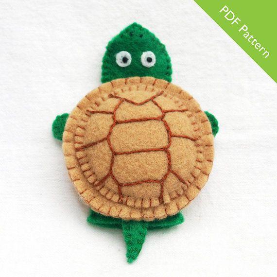 Pattern felt finger puppet pattern turtle by KRFingerPuppets, £0.85