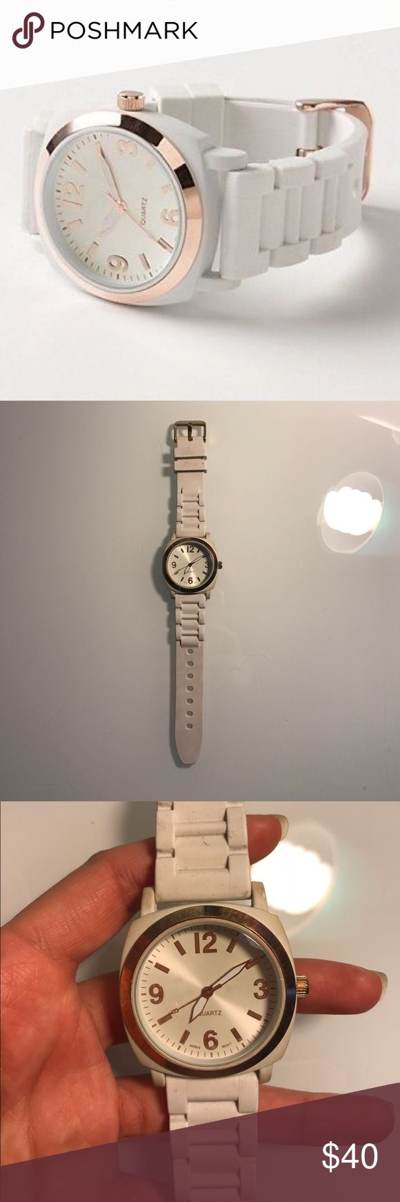 "Anthropologie Viscid Rubber Watch Good condition. ""A bright gummy strap is lent sophistication from serious gold hardware."" 9""L, 1.5 W Anthropologie Accessories Watches"