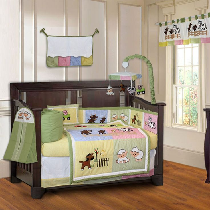 BabyFad Barnyard 10-piece Farm Baby Crib Bedding Set with Musical Mobile #Unbranded