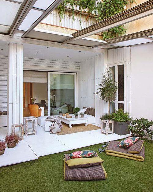 Tuin met uitschuifbaar dak