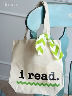 Library Tote Bag Tutorial - lots of ways to personalize these and includes library card pocket, too!
