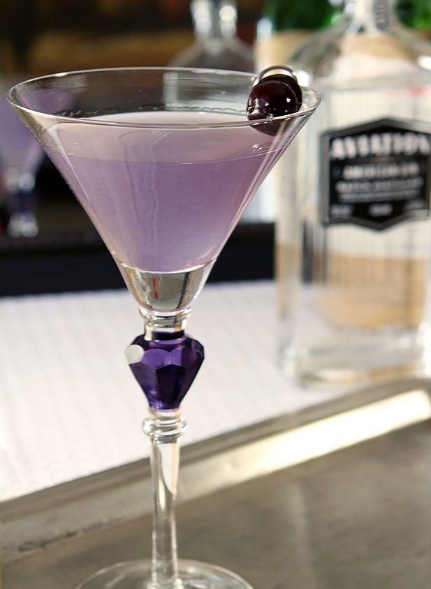 Aviation Cocktail | gin, maraschino liqueur, crème de violette, lemon juice, maraschino cherries (lemon curl)