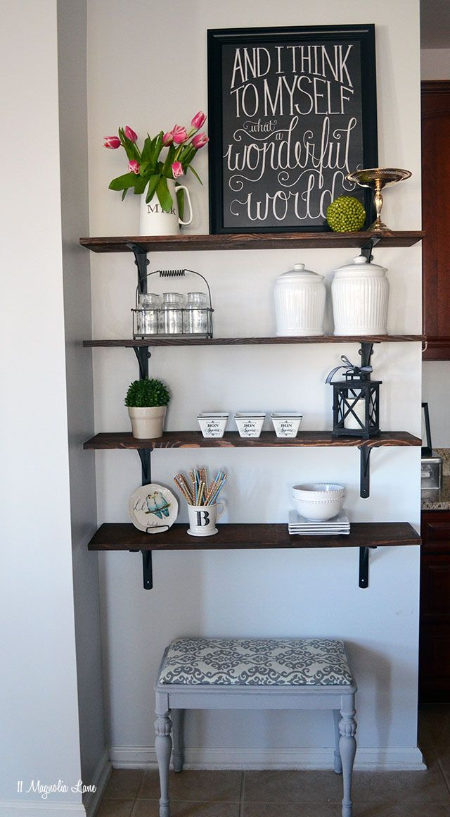 Tutorial for easy DIY open shelving | 11 Magnolia Lane: