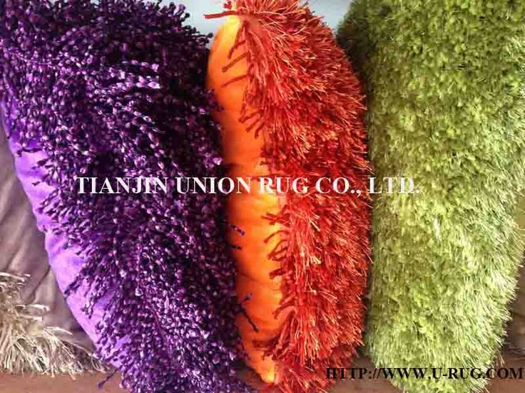 beautiful shaggy pillows for home decoration. All at Tianjin Union Rug Co., Ltd.  Mobile: 0086 187 3333 1582 Email: info@u-rug.com Website: Http://www.u-rug.com Various materials are available. Pile height and weight can be customized. Colorful design.