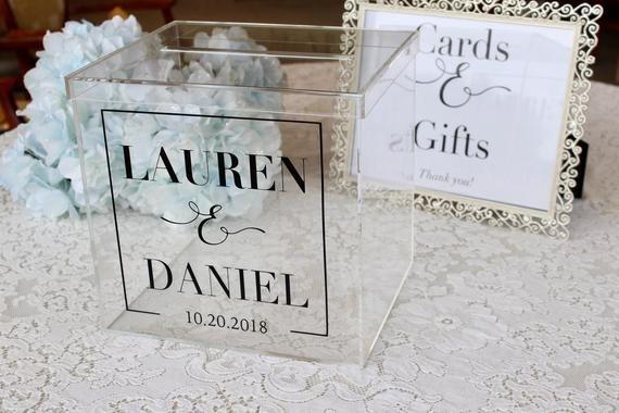 Personalized Wedding Card Box I Acrylic Card Box I Wedding Etsy Personalized Wedding Card Box Card Box Wedding Card Box Wedding Diy